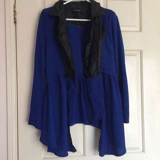 Cute royal blue ruffle coat