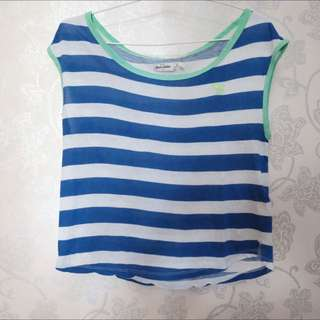 Abercrombie Stripes Blue Neon Green Shirt