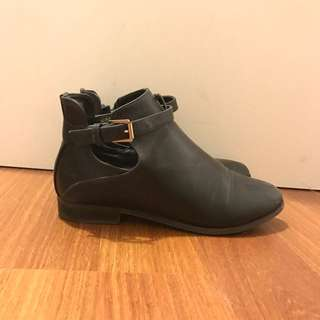 Black Leather Boots Size 40