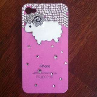iPhone 4/4S - Pink and White Sheep Phone Case