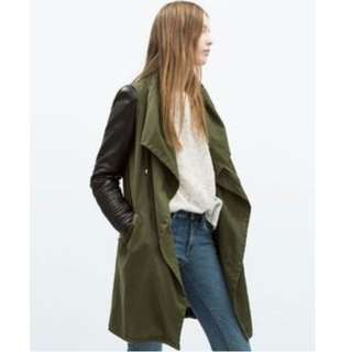 ZARA Army Green Drape Front Coat With Faux Leather Sleeve
