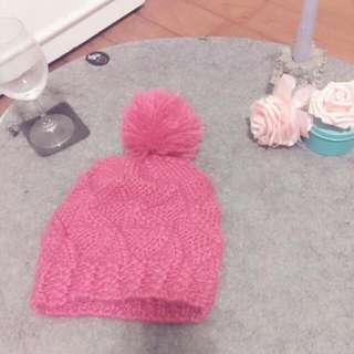 桃粉 針織帽
