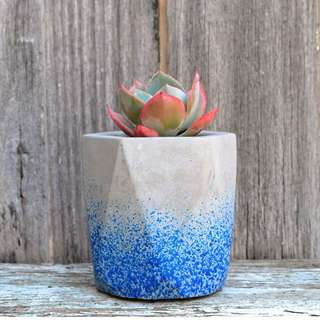 Blue Speckled Geometric Concrete Planter