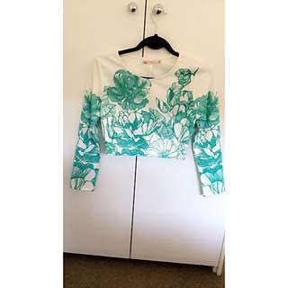 Size 10 Blossom White And Blue/green (cyan) Floral Print Long Sleeve Crop Top