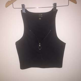Black Crop Top Zip Down Shirt