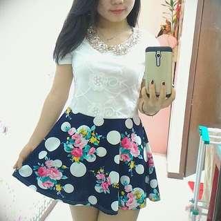 Mini Dress Floral And Polkadot Pattern