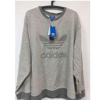 Adidas美版灰色大學T 全新吊牌未拆 型好看 美國購入 保證正品