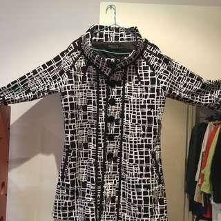 Black & White Size: 14 Knee Length Jacket