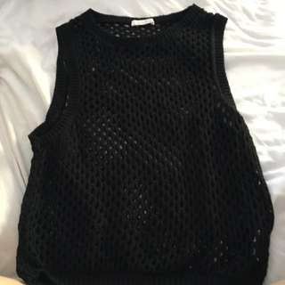 Black Knitted Mesh Singlet