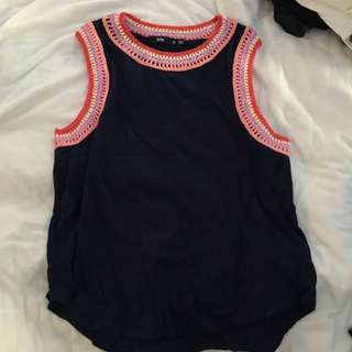 Sportsgirl Navy Singlet With Knit Detail