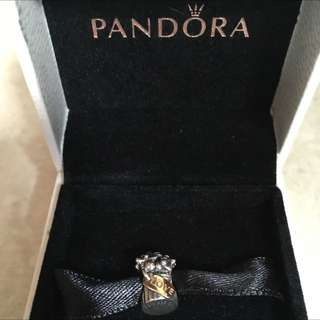 25% off - New AUTHENTIC Pandora Sliver Love Bouquet TWO TONE YELLOW GOLD Charm 790441