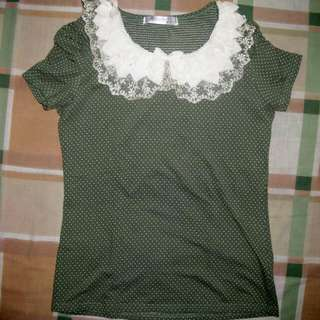 Laced Korean Blouse (Green)