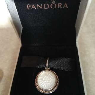 25% off - New AUTHENTIC Pandora Sliver Mother Of Pearl TWO TONE YELLOW GOLD Pendant 390335