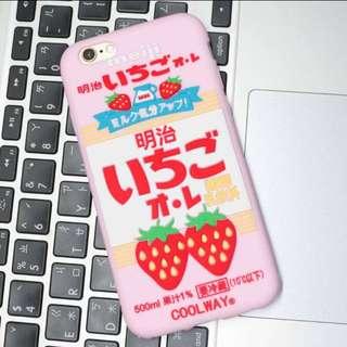 🍓(現貨附掛繩)明治草莓歐蕾草莓牛奶手機殼軟殼(i6/i6s、i7)