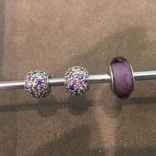 Pandora 紫色夢想 串飾 共三顆