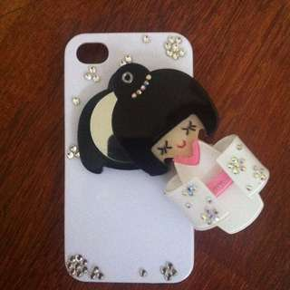 iPhone 4/4S - White Geisha Phone Case with Mirror
