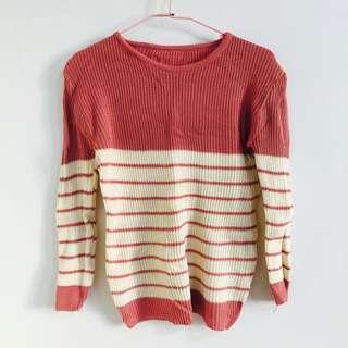 粉紅條紋針織毛衣