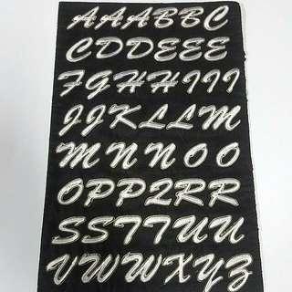 Iron On Patch/ Applique   ↪ Alphabet A to Z ↔ White Cursive Series 💱 $0.80 Each Piece