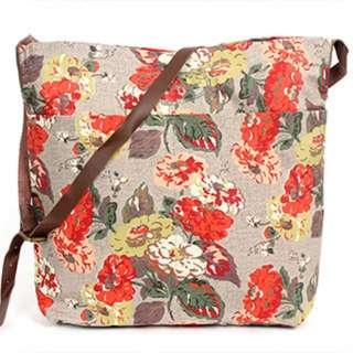 Cath Kidston Autumn Bloom Leather Strap Messenger Bag (Authentic)