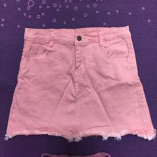 粉紅色牛仔短裙 迷你裙