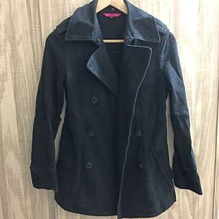 OZOC 黑色牛仔布雙排扣外套