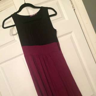 Pink And Black Sleeveless Dress