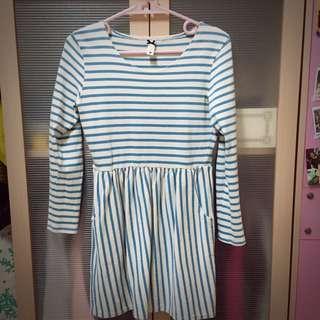 Pazzo藍白長袖洋裝