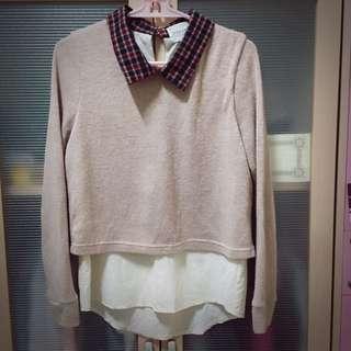 復古領假兩件式毛衣
