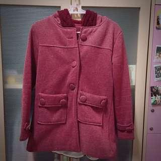 麻花紅大衣外套