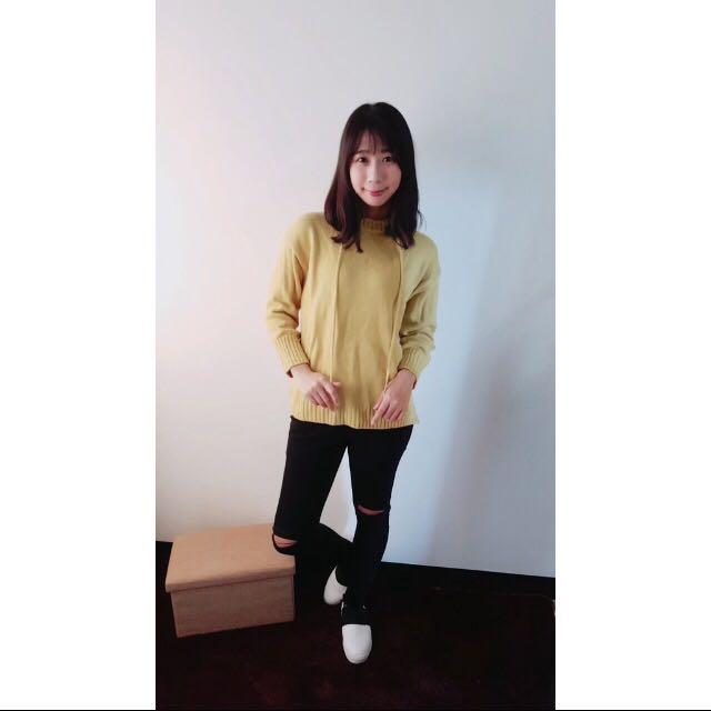 芥黃連帽針織衫