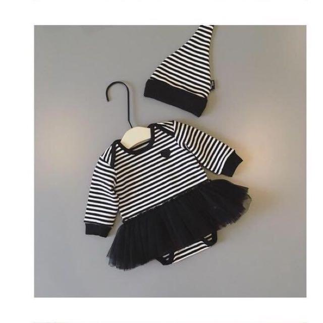 黑白條紋澎裙包屁衣組合
