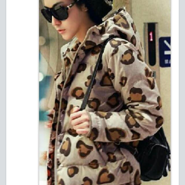 豹紋舖棉防風外套