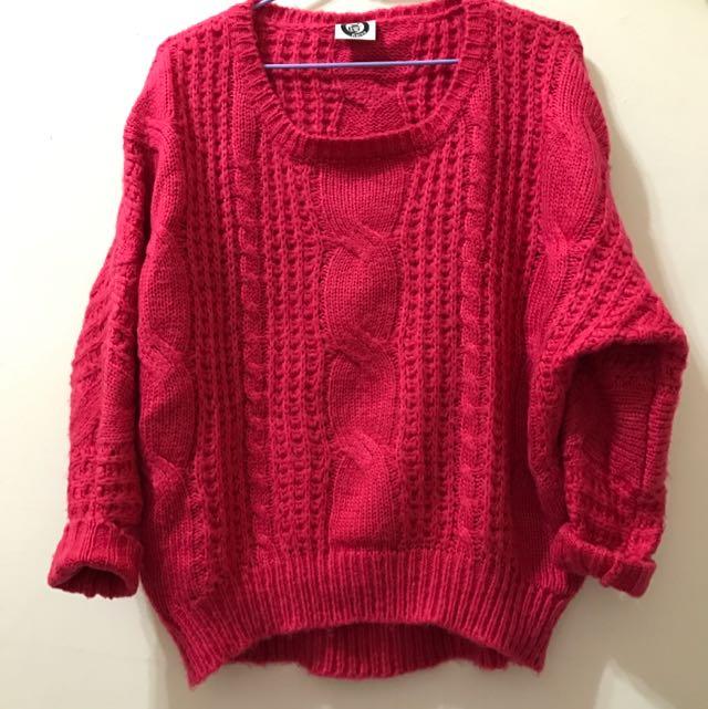 桃粉紅粗織毛衣