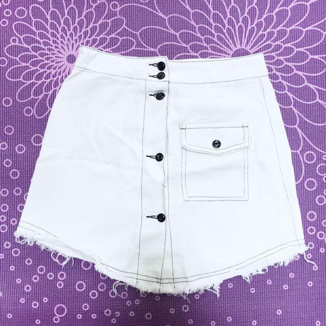 白色牛仔裙子 短裙