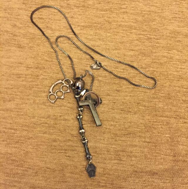 二手 項鍊 日本製 骷髏頭 十字架 項鍊 男生項鍊 潮流 精品