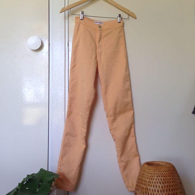 American Apparel Peach High Waisted Jeans