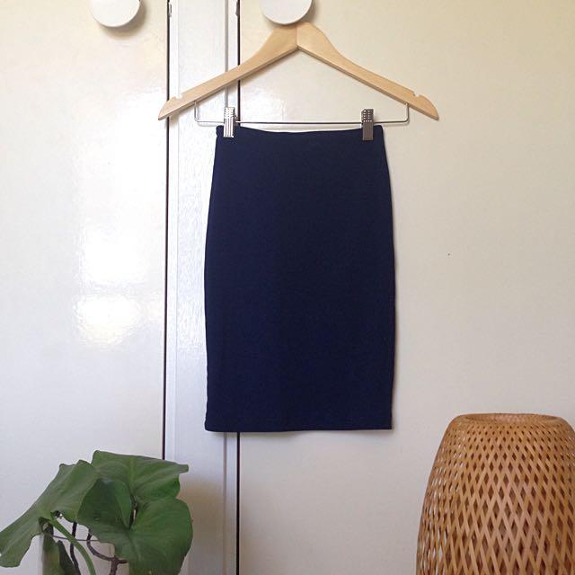 American Apparel Ribbed Slip Skirt Blue