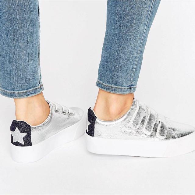 ASOS銀色增高平底鞋