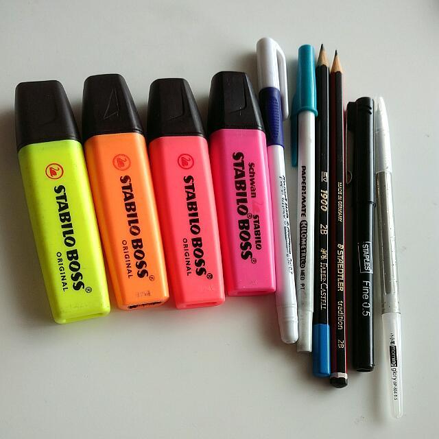 Assorted Highlighters, Gel Pens, Ballpoints & Pencils