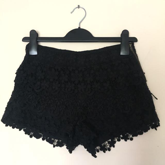 AU 8 | Bardot Black Crochet Shorts