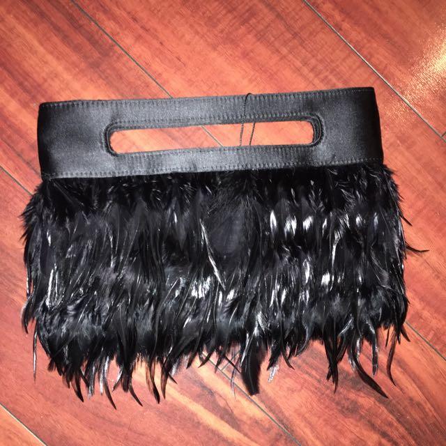 BCBG Black Satin/feather Clutch