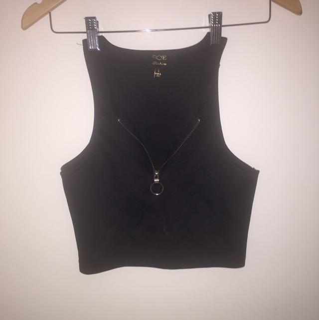 Black Crop Top Zip Down Shirt