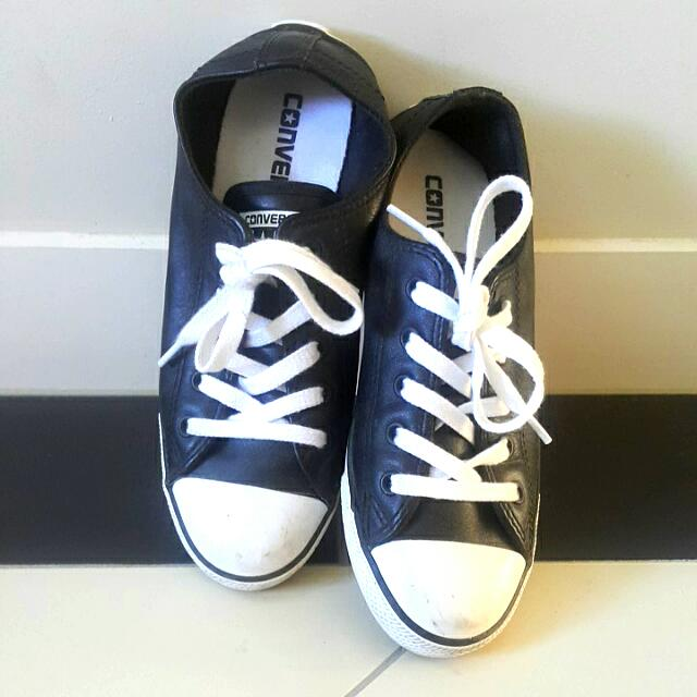 Black Faux Leather Converse Shoes