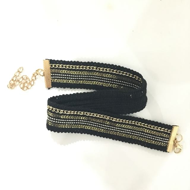 Black Gold Stripe Choker Golden Chain