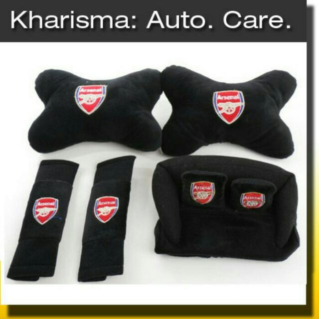 Car Set Bola Karakter Bantal Mobil Leher Hitam Arsenal 3 In 1