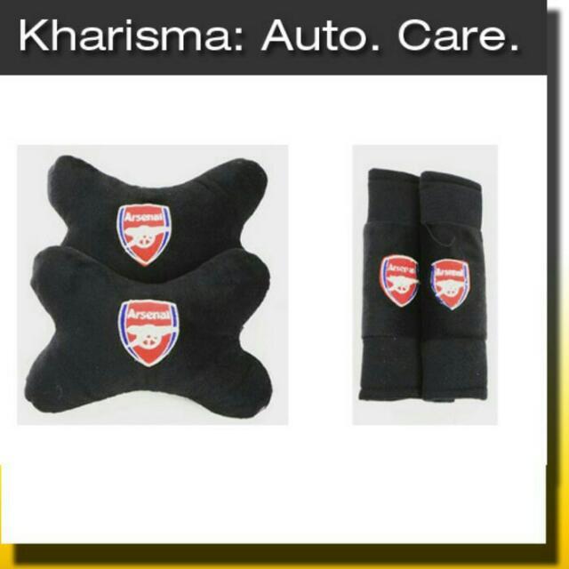Car Set Sarung Seatbelt Hitam Arsenal 2in1