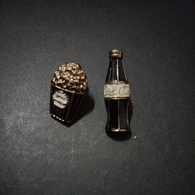 Cola & Popcorn Earrings Anting Wanita - Hitam-Gold