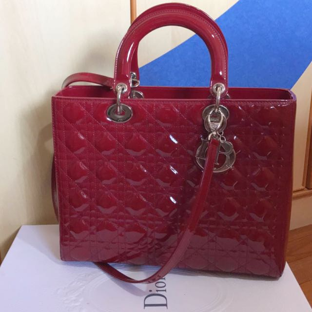 ae93f2d31f90 Authentic Large Lady Dior in Wine Red Patent Leather