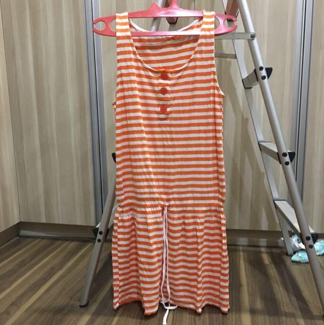 dress buntung, pinggang serut