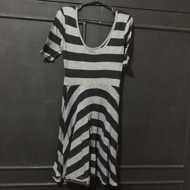 Forever 21 Black And Grey Stripes Dress